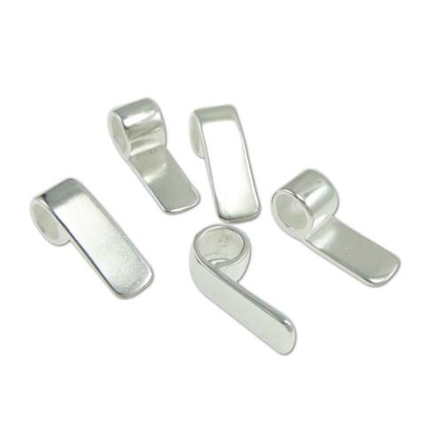 Verzilverde hanger glasfusing, 17 x 6 x 1.5  mm, verpakt per stuk