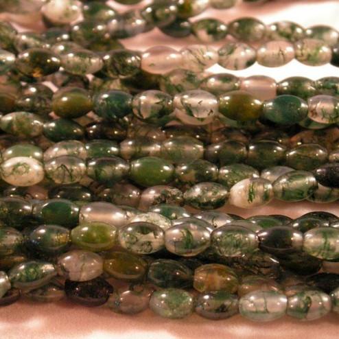 Mosagaat, groen-wit, bicone, 6 x 4 mm, per streng
