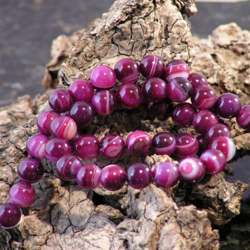 Agaat, rond, 8 mm, donker roze, per streng