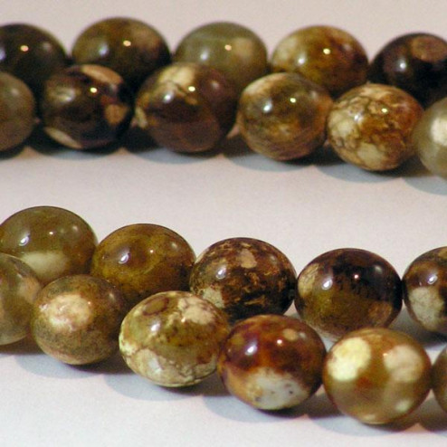 Agaat, rond, 10 mm, bruin/beige, per streng
