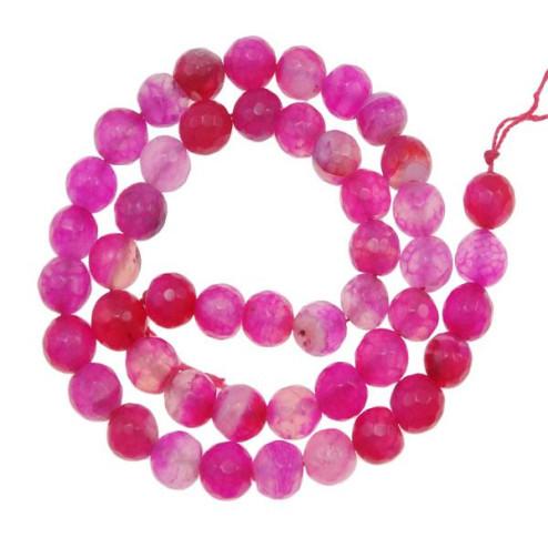 Agaat, roze, gefacetteerd, 8 mm, per streng