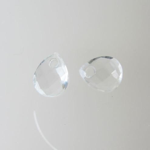 Briolette, kristal, gefacetteerd, 9 x 11 mm, per stuk