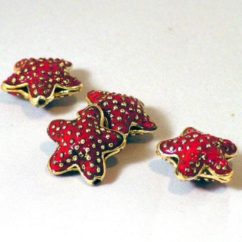 Cloisonné zeester, 18 mm, rood, verpakt per 10 stuks