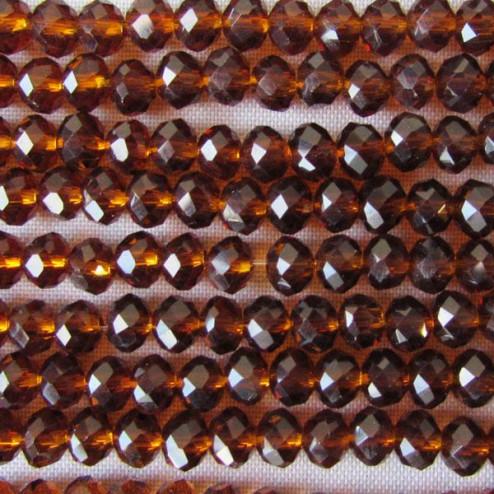 Swarovski-Style Kristalkraal, donker topaz, facetted, rondel, 3 x 4 mm, per streng