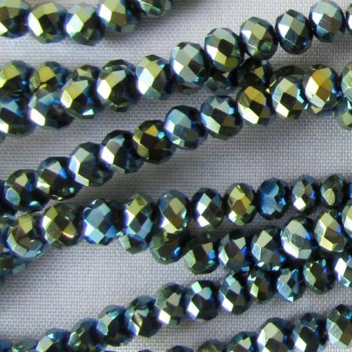 Swarovski-Style Kristalkraal, metallic Green Blue, facetted, rondel, 3 x 4 mm, per streng