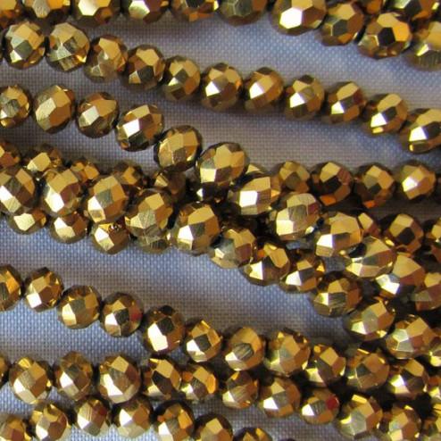 Swarovski-Style Kristalkraal, Gold Metallic, facetted, rondel, 3 x 4 mm, per streng