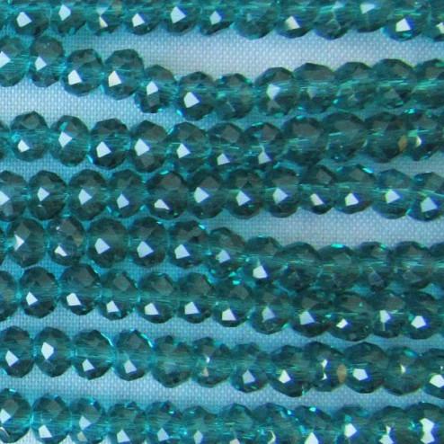 Swarovski-Style Kristalkraal, Emerald, facetted, rondel, 3 x 4 mm, per streng