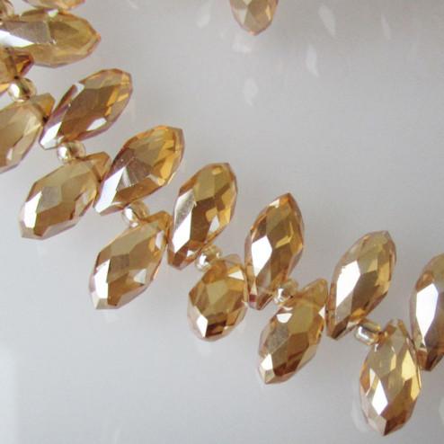 Swarovski-Style Kristalkraal, TOPAZ, facetted, drop, 6 x 12 mm, per streng