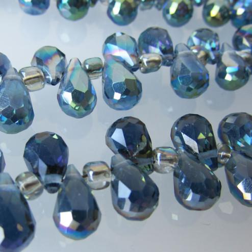 Swarovski-Style Kristalkraal, MONTANA, facetted, drop, 6 x 10 mm, per streng