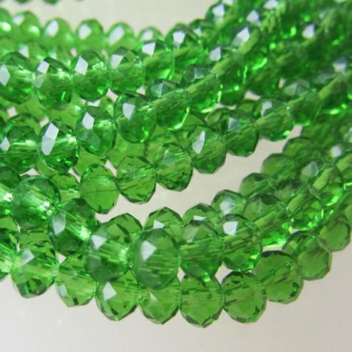 Swarovski-Style Kristalkraal, Fern Green, facetted, rondel, 3 x 4 mm, per streng