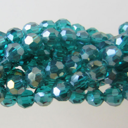 Swarovski-Style Kristalkraal, Emerald AB, facetted, rond, 4 mm, per streng