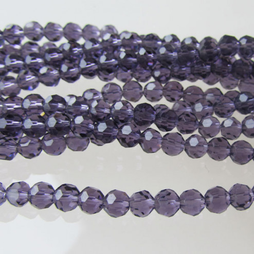 Swarovski-Style Kristalkraal, Amethist, facetted, rond, 4 mm, per streng