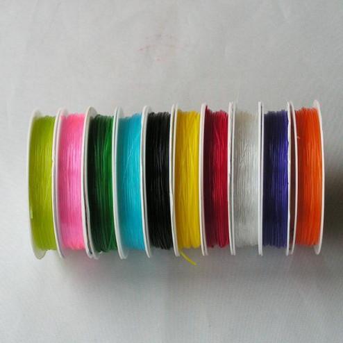 Elastiek - 0.80 mm, per 10 rollen van 7 meter, mix kleuren OP = OP !
