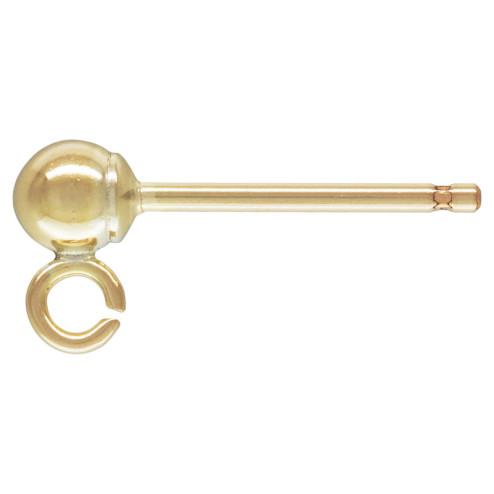 14 K Gold Filled oorsteker, 3 mm bal, verpakt per paar