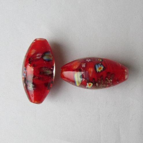 Grote glaskraal met groot gat, 45 x 22 mm, rood / millefiori, per stuk