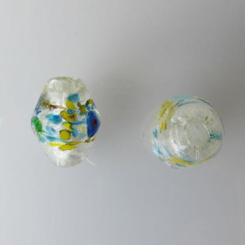 Glaskraal met groot gat, bicone, 28 x 22 mm, silverfoil/geel/aqua, per stuk