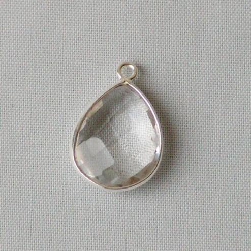 Sterling zilveren (925) hanger  van KRISTAL, gefacetteerd, 13 x 19 mm, verpakt per stuk