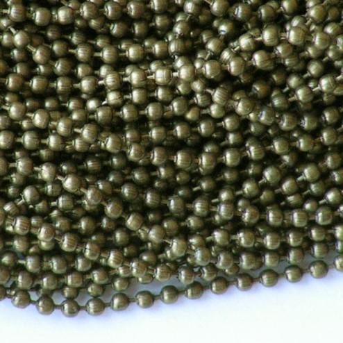 Bronskleurige bolletjesketting, 2 mm,  verpakt per 5 x 1 meter