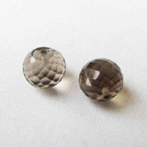 Halfdrilled ROOKKWARTS kraal, rond, 12 mm, gefacetteerd, per stuk