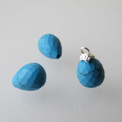 Halfdrilled TURKOOIS kraal, drop, 8 x 10 mm, gefacetteerd, per stuk