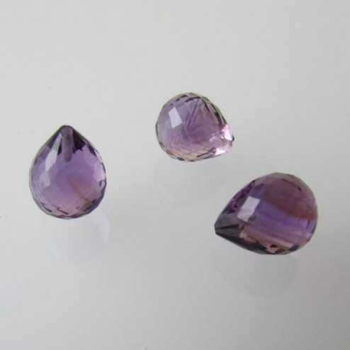 Halfdrilled AMETHIST kraal, drop, 8 x 10 mm, gefacetteerd, per stuk