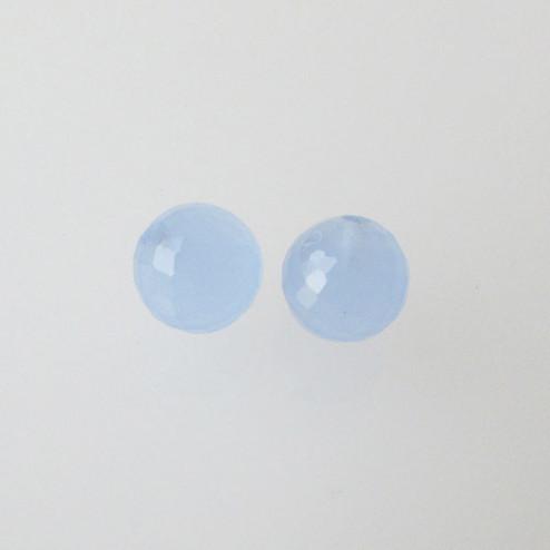 Halfdrilled CHALCEDOON kraal, rond, 6 mm, gefacetteerd, per stuk