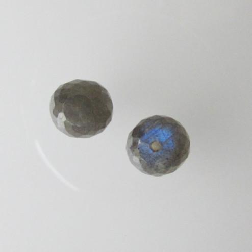 Halfdrilled LABRADORIET kraal, rond, 6 mm, gefacetteerd, per stuk