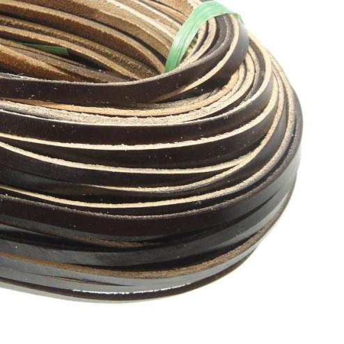 Leer, donkerbruin, 7 x 2.5 mm, per meter