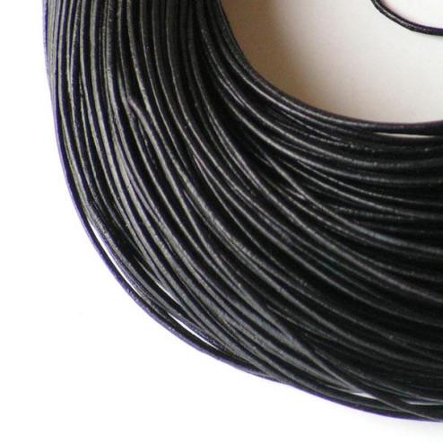 Leer, zwart, 1 mm, per 10 meter
