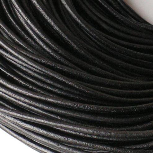 Leer, zwart, 3 mm, per meter
