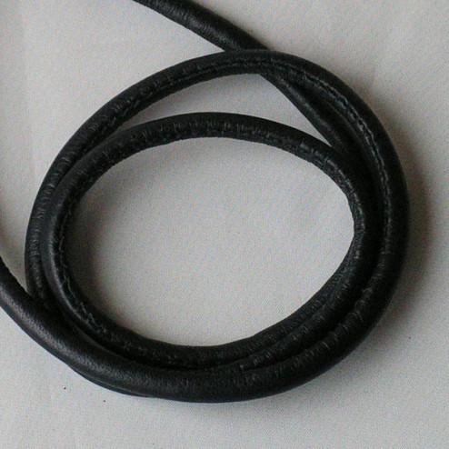 Gestikt Leer, zwart, 4 x 6 mm, per 125 cm