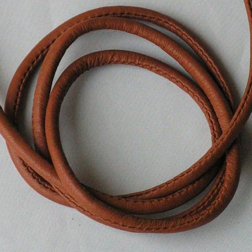 Gestikt Leer, bruin, 4 x 6 mm, per 75 cm