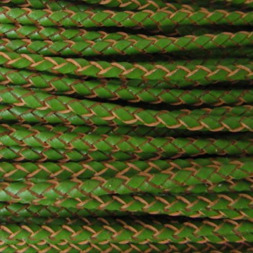 Gevlochten leer, groen, 3 mm, per meter