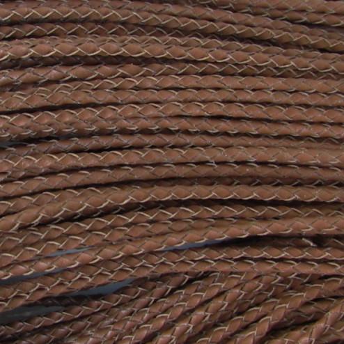 Gevlochten leer, bruin, 3 mm, per meter