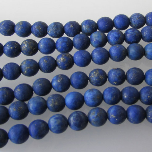 Lapis Lazuli, rond, 4 mm, FROSTED, per streng
