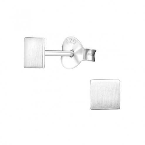 Sterling zilveren (925) oorsteker met geborsteld vierkantje, 4 mm, per paar