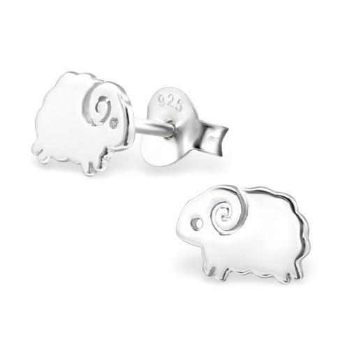 Sterling zilveren (925) oorsteker met schaapje, 5 mm, per paar