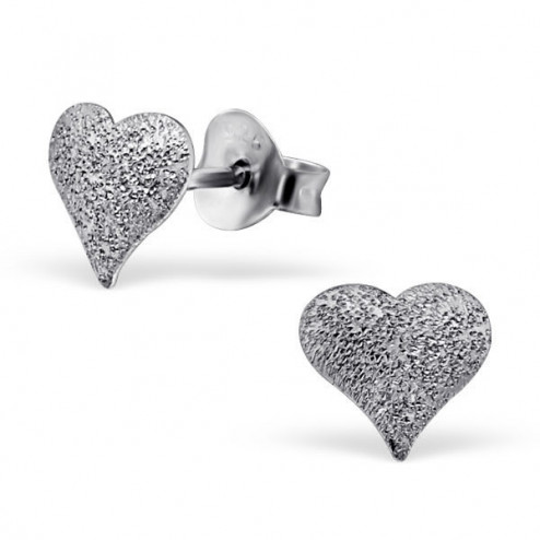 Sterling zilveren (925) oorsteker, hartje, per paar