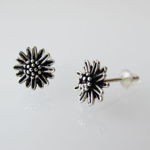 Sterling zilveren (925) oorsteker, bloem, 9 mm, per paar