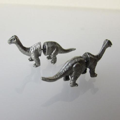 Grijskleurige oorsteker, Dinosaurus, split oorbel, per paar
