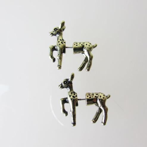 Goudkleurige oorsteker, hertje, split oorbel, per paar