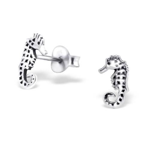 Sterling zilveren (925) oorsteker, Zeepaardje, 9 x 5 mm, per paar