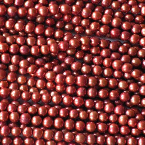 Zoetwaterparel, koper, potato, 8 mm, per streng