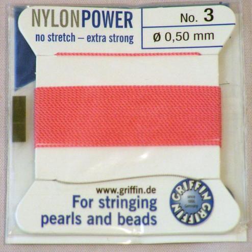 Griffin Nylon Power, roze, 0.50 mm  x 2 m, met naald