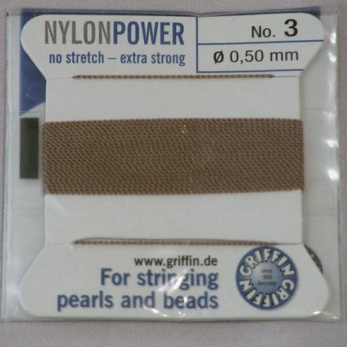 Griffin Nylon Power, beige, 0.50 mm  x 2 m, met naald