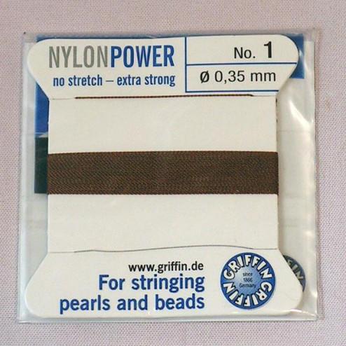 Griffin Nylon Power, bruin, 0.35 mm  x 2 m, met naald