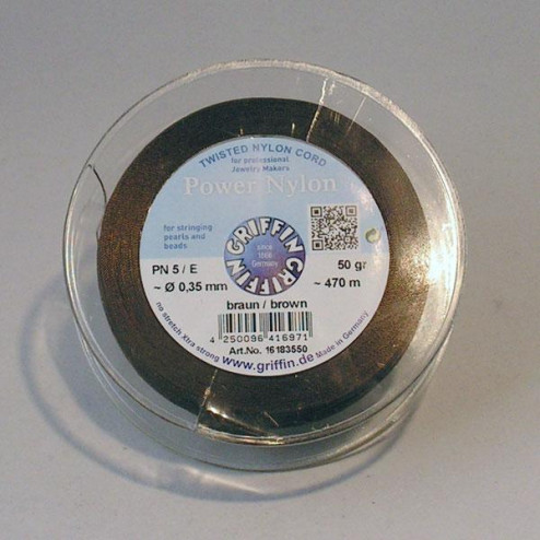 Griffin Nylon Power op spoel, bruin, 0.35 mm  x 470 m
