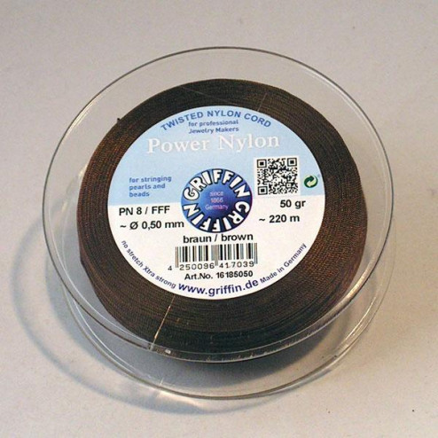 Griffin Nylon Power op spoel, bruin, 0.50 mm  x 220 m