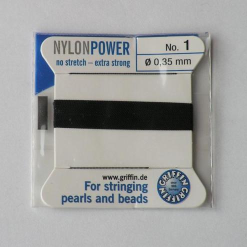 Griffin Nylon Power, zwart, 0.35 mm  x 2 m, met naald