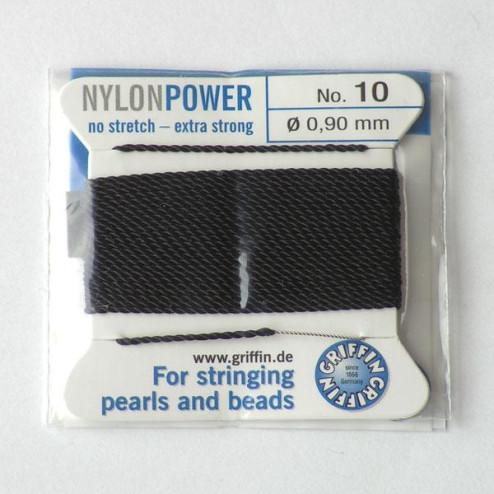 Griffin Nylon Power, zwart, 0.90 mm  x 2 m, met naald